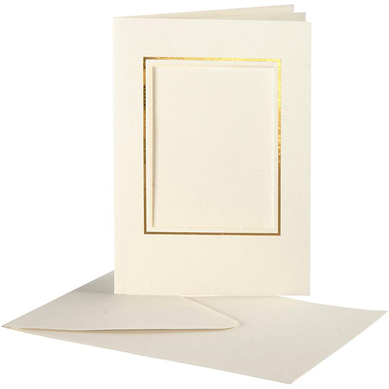 Passepartoutkort med kuvert, kort str. 10,5x15 cm, hulstr. 6,5x8,8 cm, off-white, rektangulær med guldkant, 10sæt