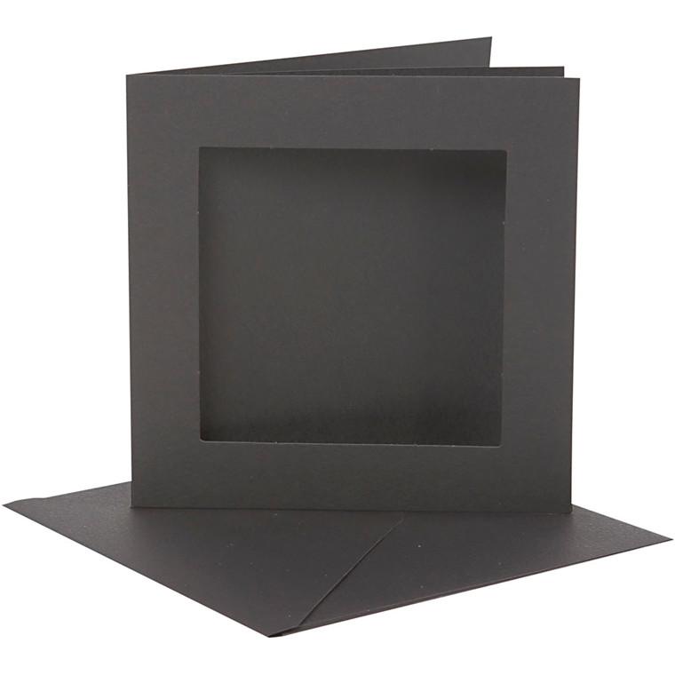 Passepartoutkort med kuvert, kort str. 12,5x12,5 cm, kuvert str. 13,5x13,5 cm, sort, 10sæt, 220 g