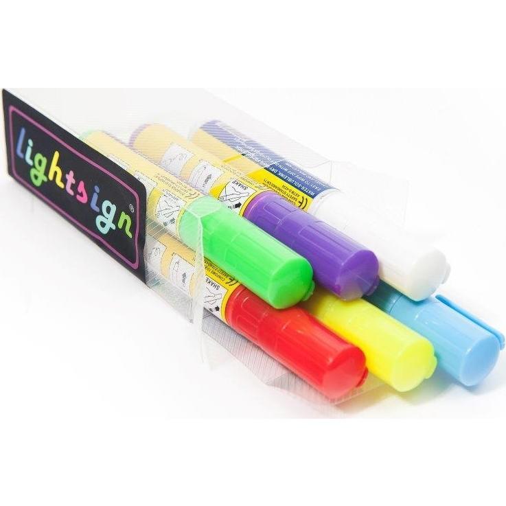 Marker Pen Til Lysskilte 8 mm - Sæt med 6 farver