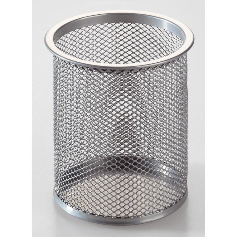 Penneholder rund m/huller OD sølv Ø9x10cm