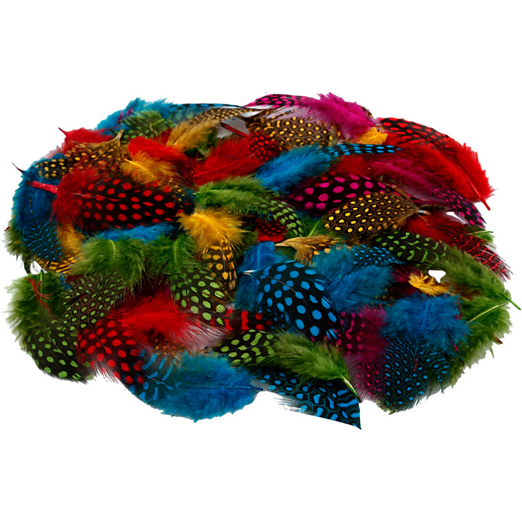 Perlehønsefjer assorteret farver - 50 gram