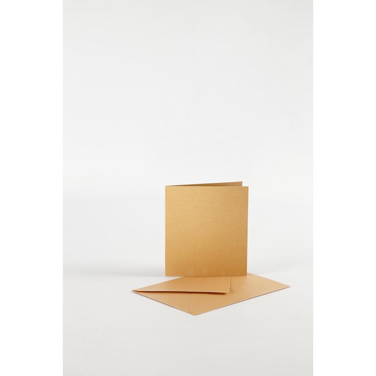 Perlemorskort, kort str. 10,5x15 cm, kuvert str. 11,5x16,5 cm, guld, 10sæt