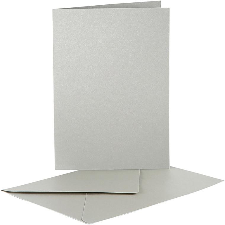 Perlemorskort, kort str. 10,5x15 cm, kuvert str. 11,5x16,5 cm, sølv, 10sæt