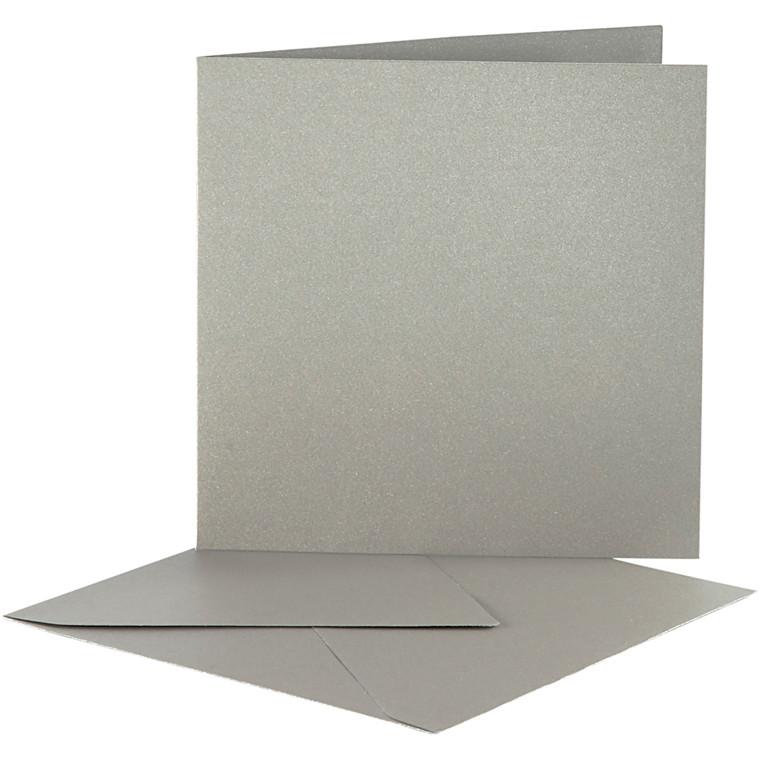 Perlemorskort, kort str. 12,5x12,5 cm, kuvert str. 13x13 cm, sølv, 10sæt