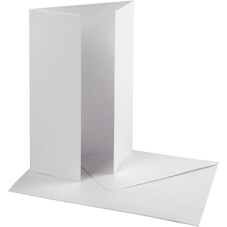 Perlemorskort med kuvert, kort str. 10,5x15 cm, kuvert str. 11,5x16,5 cm, hvid, 10sæt, 120 g
