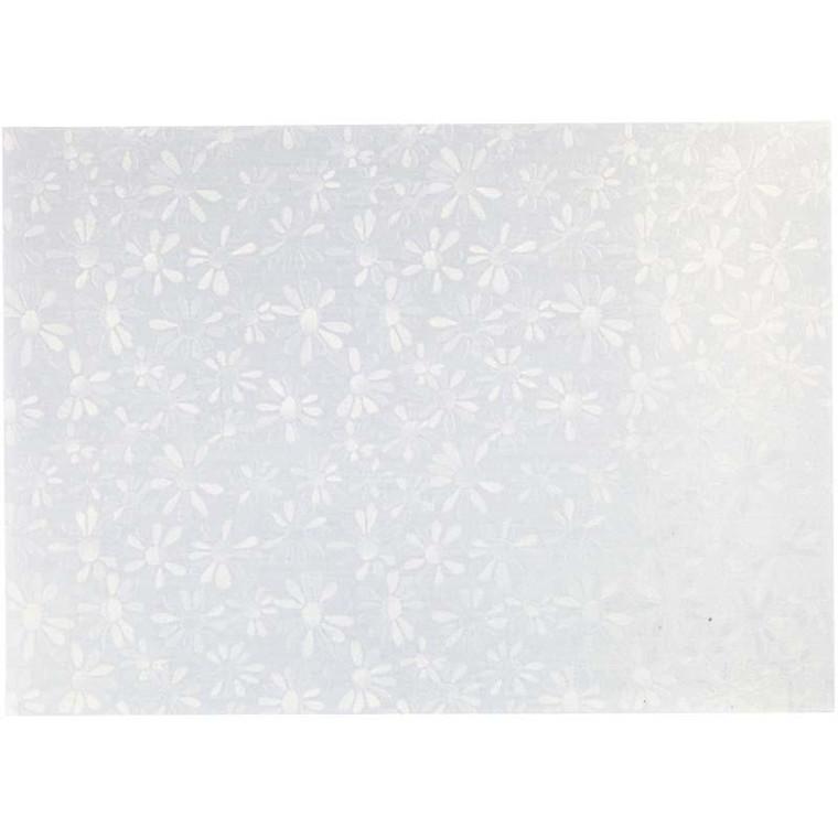 Perlemorspapir, A4 21x30 cm, 120 g, hvid perlemor, marguerit, 10ark