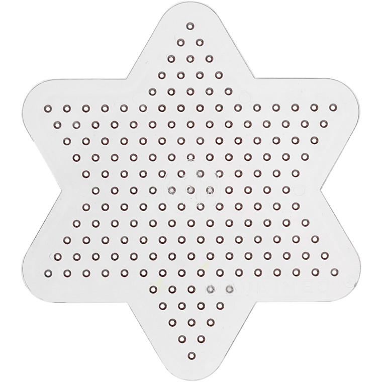 Perleplade , diam. 10 cm, transparent, lille stjerne, 1stk.