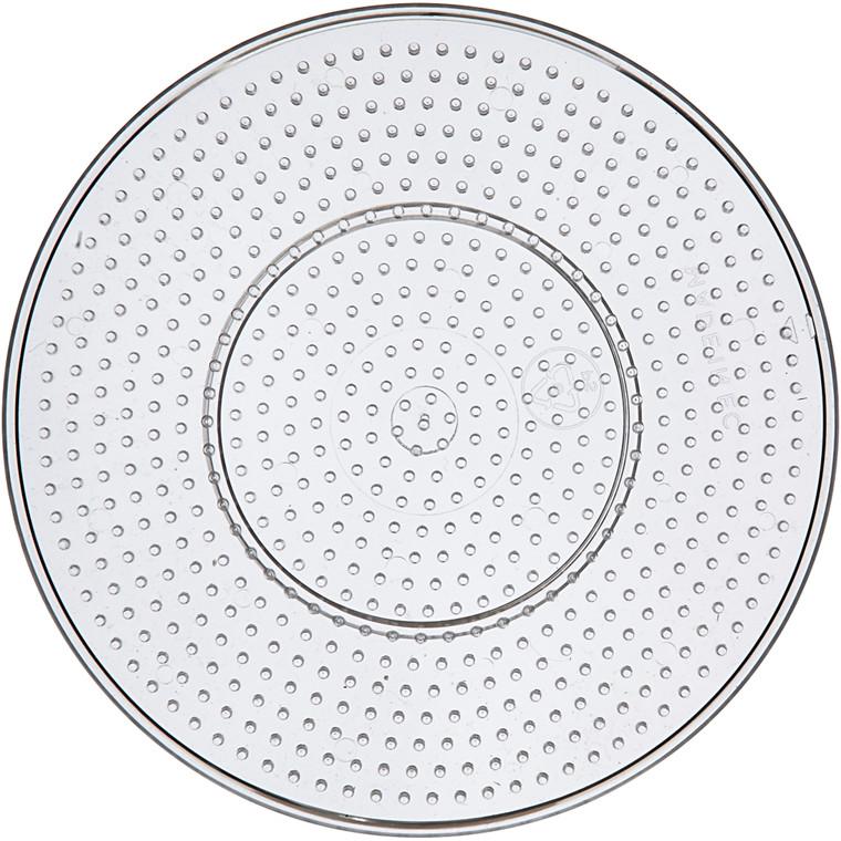 Perleplade , diam. 15 cm, transparent, stor rund, 1stk.