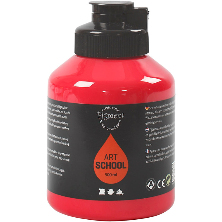Pigment Art School, primær rød, 500ml
