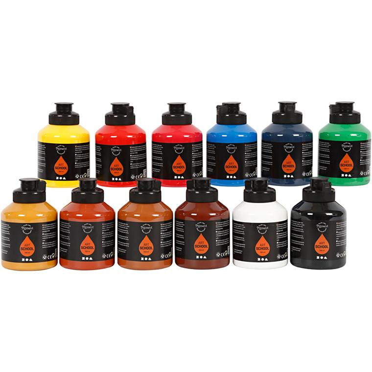 Pigment Art School , standardfarver, 12x500ml