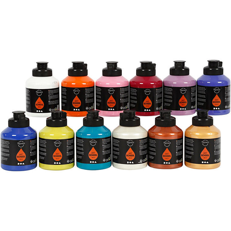 Pigment Art School, suppleringsfarver, 12x500ml