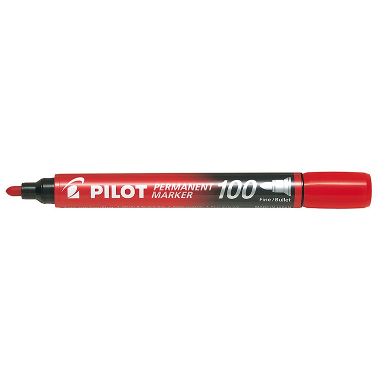 Pilot 100 Permanent Marker - Rød 1,0 mm
