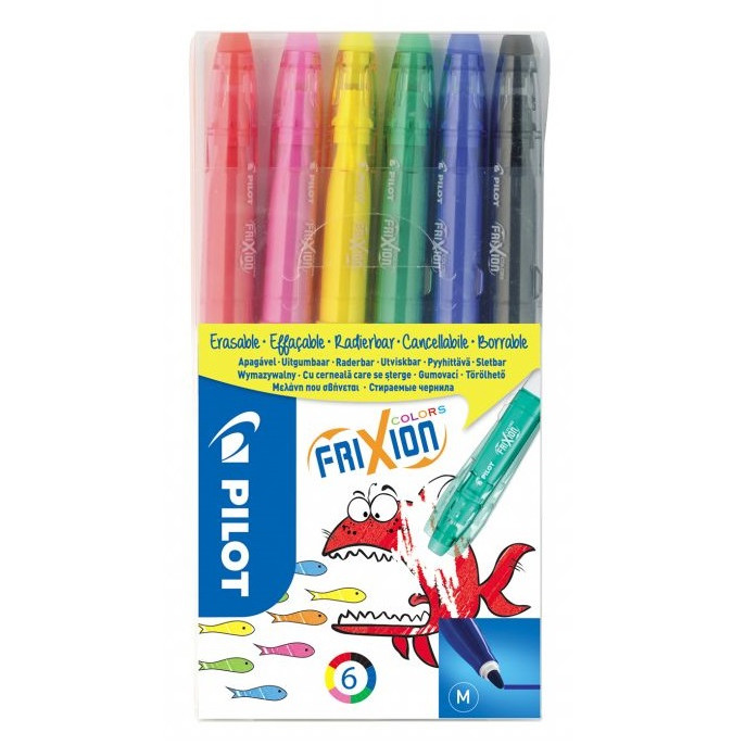 Pilot FriXion Colors Medium - Sæt med 6 farver
