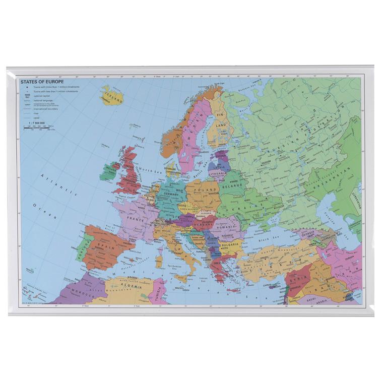 Plakat lamineret europakort - 970 x 670 mm