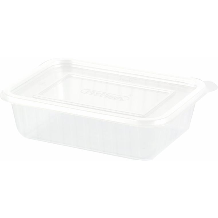 Plastbakke Fixpack firkantet PP klar 350 ml - 500 stk