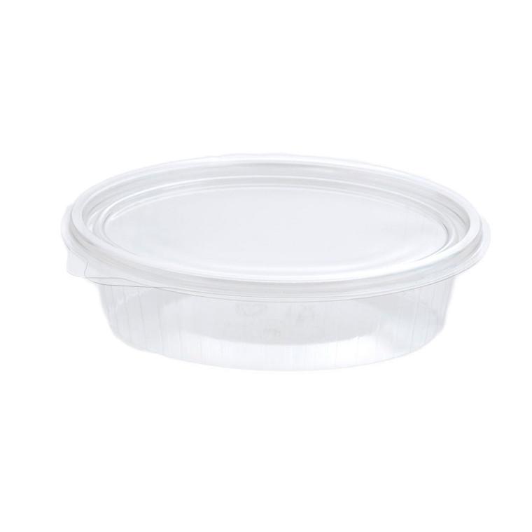 Plastbakke med hængslet låg oval 150 ml - 148 x 112 x 31 mm 97008 - 50 stk