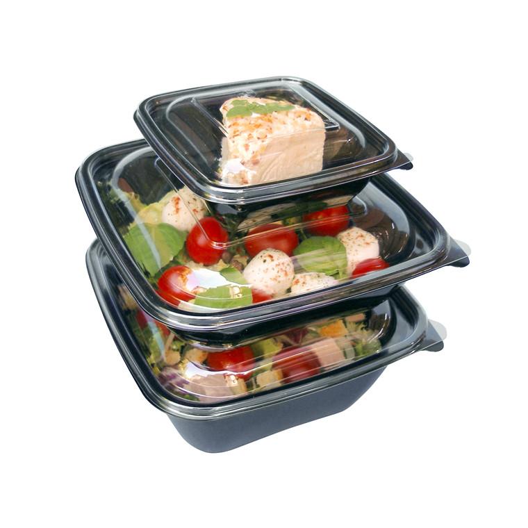 Plastbakke square bowl sort A-PET 750 ml - 50 stk - Dishy