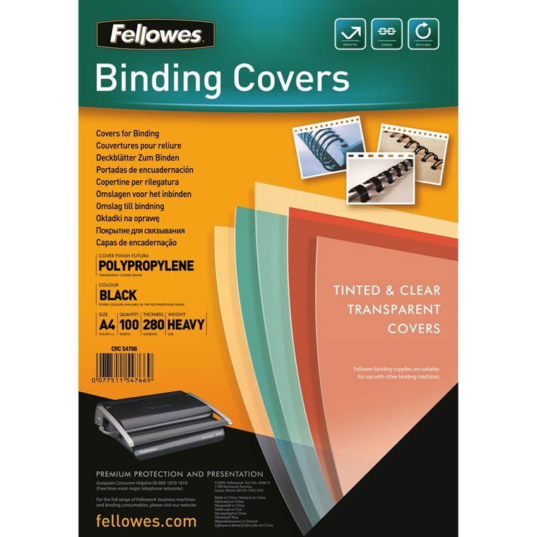 Plastforside Fellowes 240mic sort A4 PP 100stk/pak