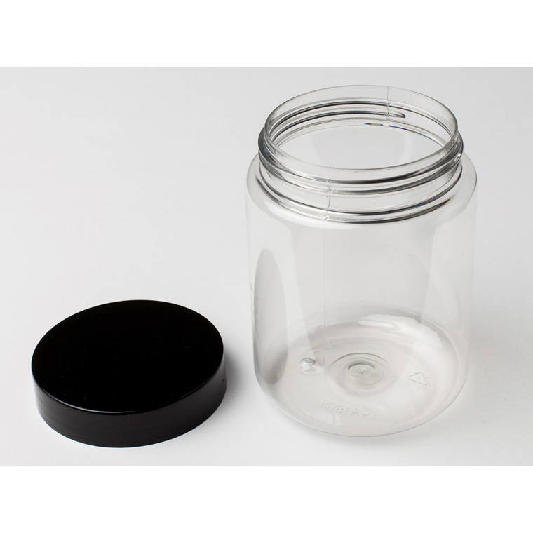 Plastikdåse PET u/låg klar 500ml, Ø75mm til skruelåg