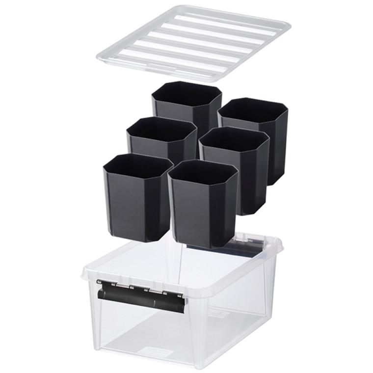 Plastikkasse - Smart Store i sort 40 x 30 x 19 cm med rumdelere