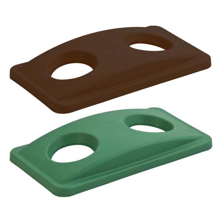 Plastlåg, Rubbermaid, med 2 huller, til kildesortering af flasker, dåser og kopper/glas, brun,