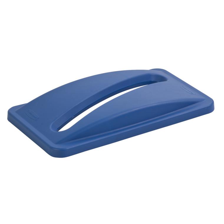 Plastlåg, Rubbermaid, med slids, til kildesortering af papir, blå,