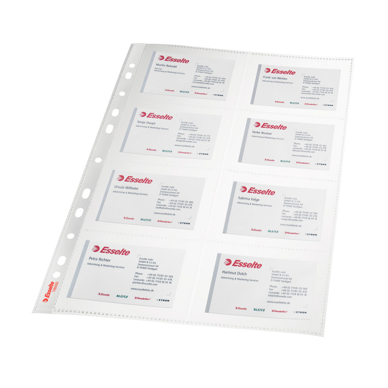 Plastlommer A4 til visitkort - glasklar til 16 kort - 10 stk i pose