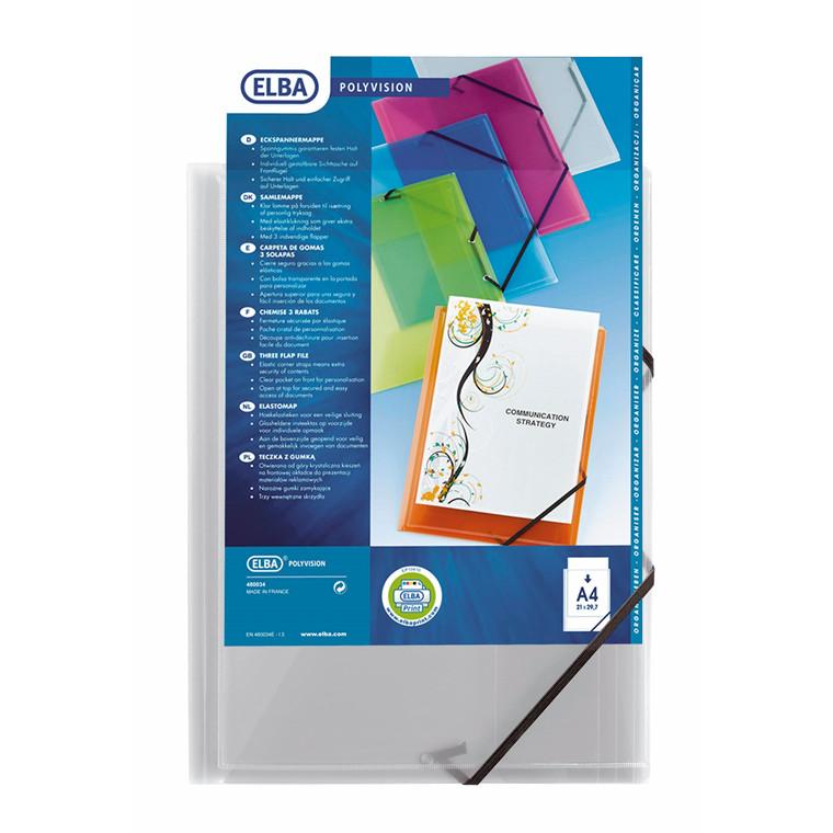 Elastikmapper plast A4 transparent - Elba 342408