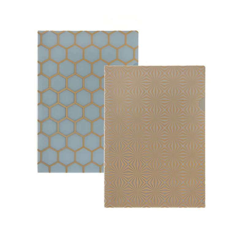 Plastomslag KOZO A4 PP blå grå 2stk