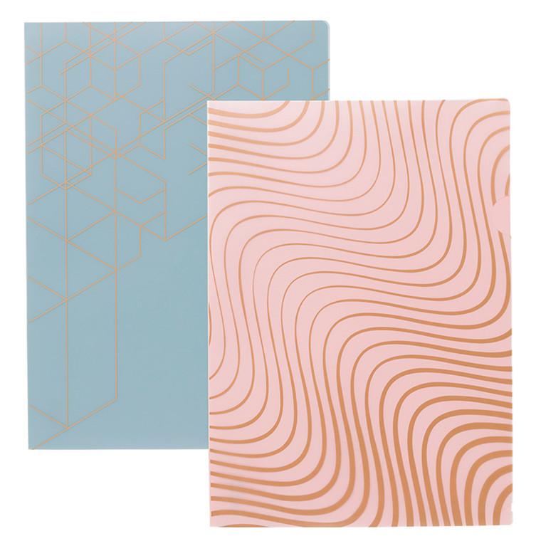 Plastomslag KOZO A4 PP blå pink 2stk