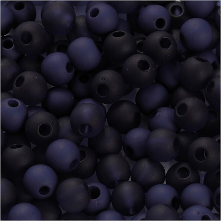 Plastperler, diam. 6 mm, hulstr. 2 mm, blå, 40g, ca. 150 stk.