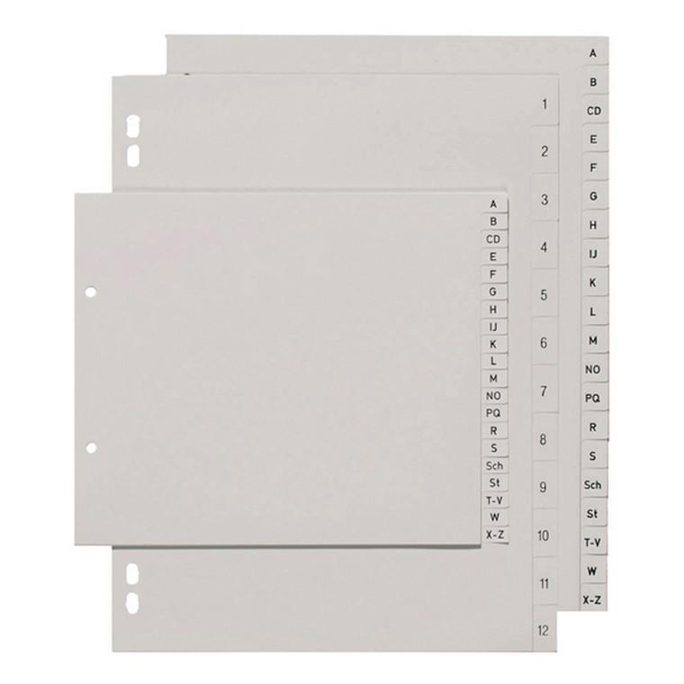A5 Plastregister 1-10 - grå faner i plast med kartonforblad