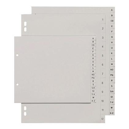 Plastregister - grå 1-12 m/kartonforblad - A5
