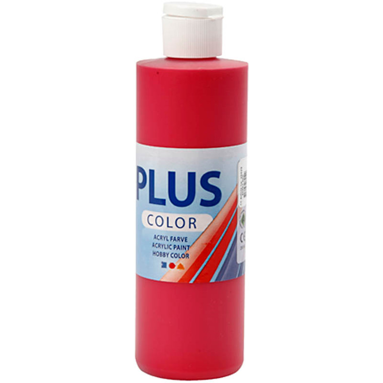 Plus Color hobbymaling, berry red, 250ml