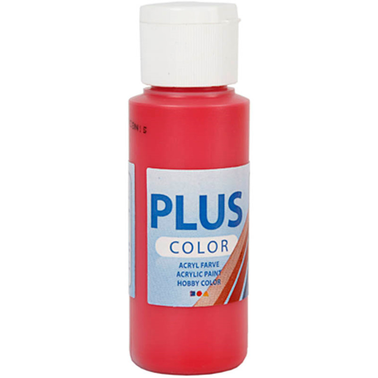 Plus Color hobbymaling, berry red, 60ml
