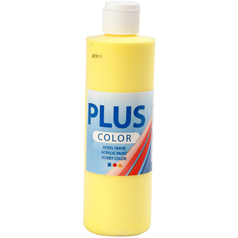 Plus Color hobbymaling, primary yellow, 250ml