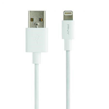 PNY Lightning to USB Charge & Sync Cable, White (1,2m)