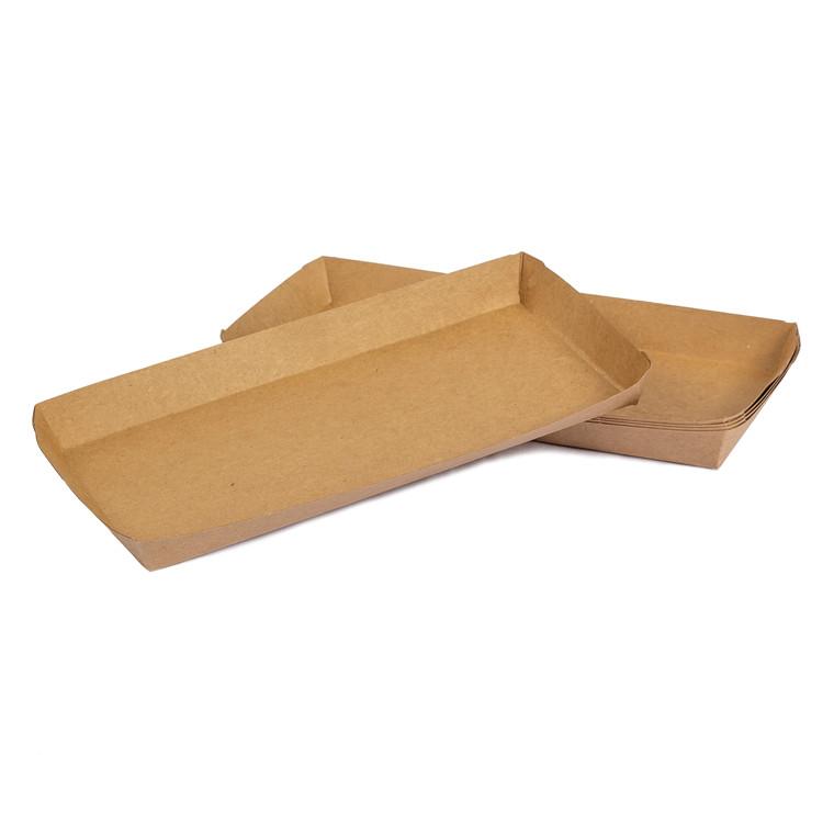 Pølsebakke med kant brun 200x90x20mm 100stk
