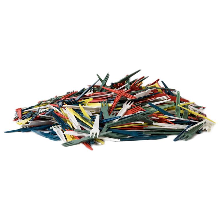 Pommesfritesgafler plastik assorteret farver 1044 - 1000 stk.