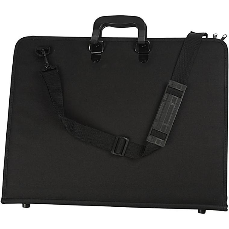 Portfolio Mappe A3 sort med hank og skulderrem - 46 x 36 x 4 cm