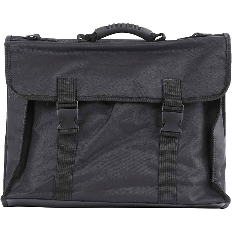 Portfolio taske A3 sort med hank og skulderrem 46 x 36 cm - sort