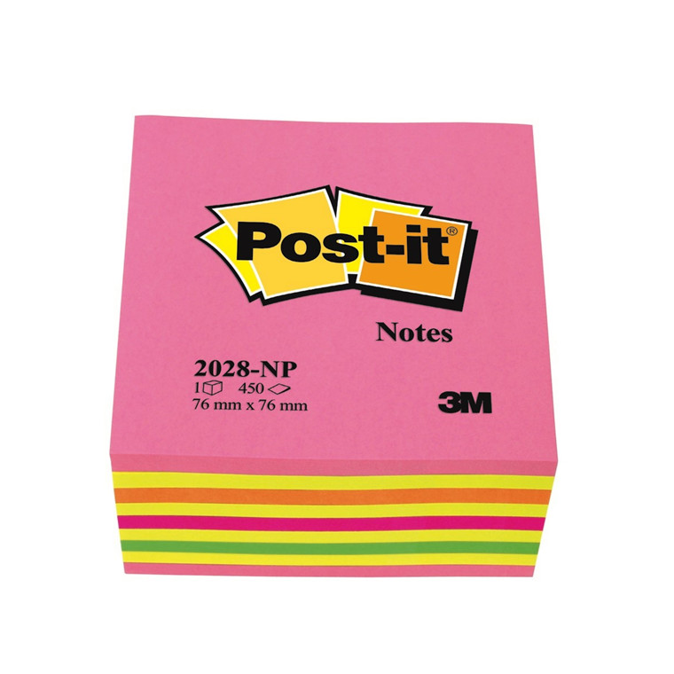 Post-it 2028NP - Notes Cube Neonfarver 76 x 76 mm - 450 ark