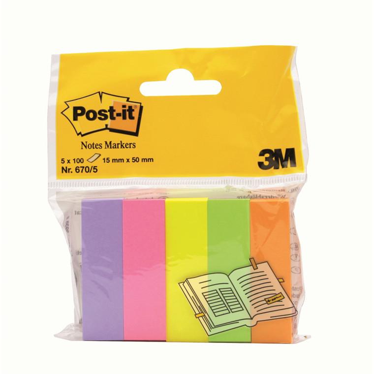 Post-it 670-5 - Markeringsblok i 5 farver 100 ark - 5 blokke
