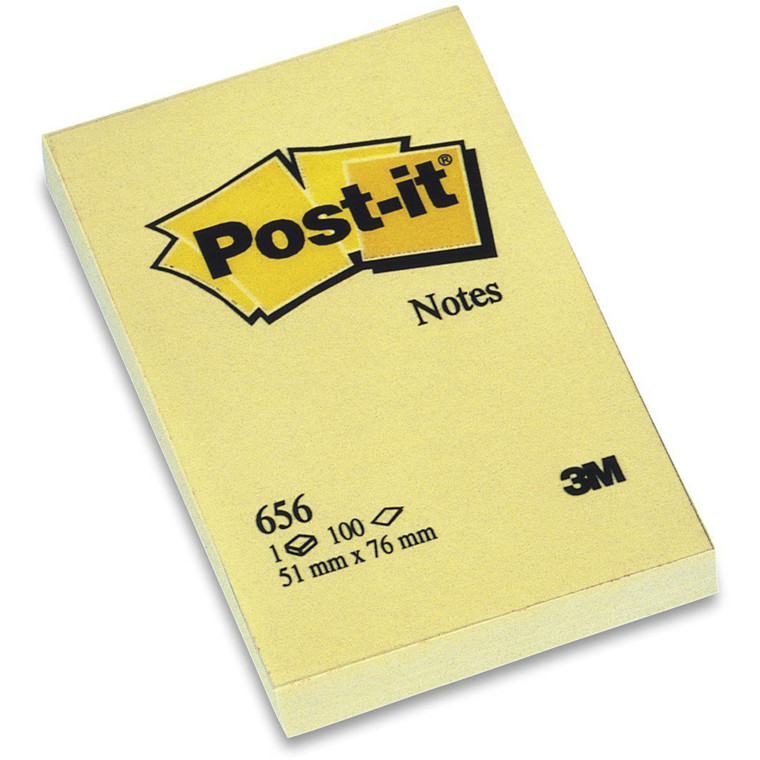 Post-it blok 656 gul 76x50mm 100bl 3M 12blk/pak