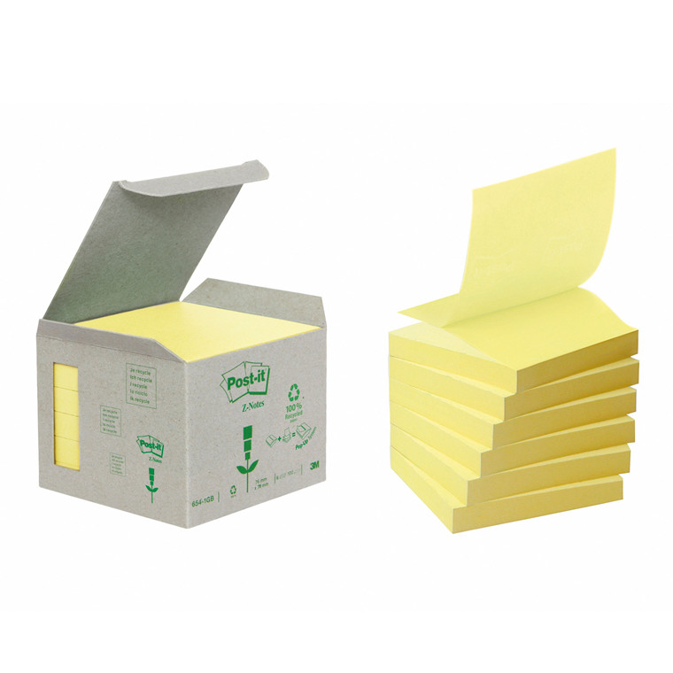 Post-it blok Miljø 76x76mm z-fold gul 6blk/pak