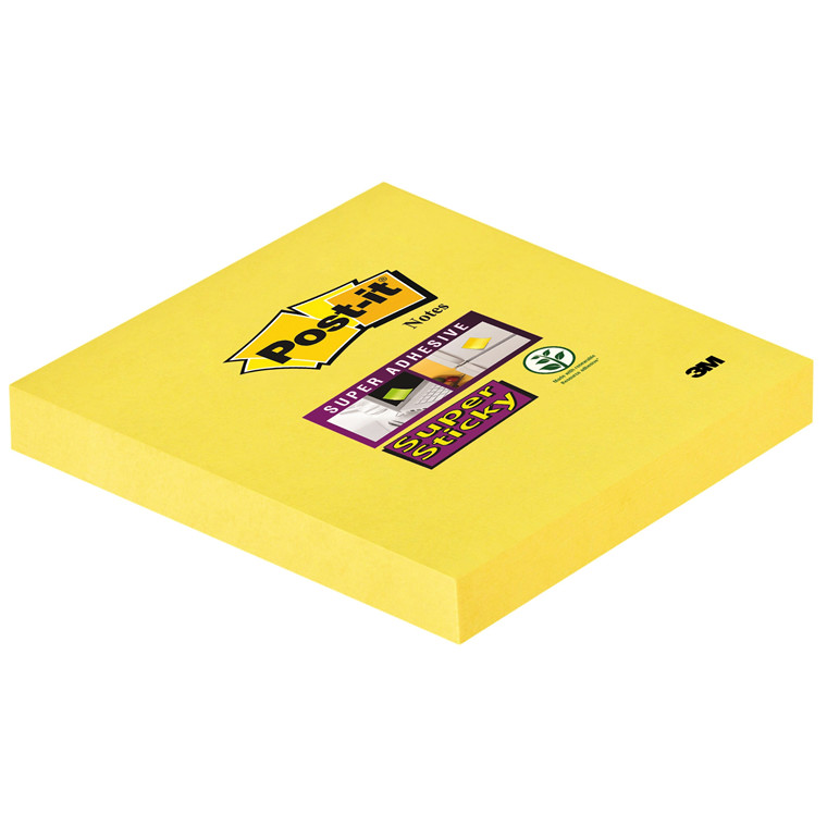 Post-it blok Super Sticky 654 gule 76x76mm 90bl. 12blk/pk