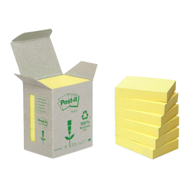 Post-it notes Miljø 38x51mm gul 6blk/pak