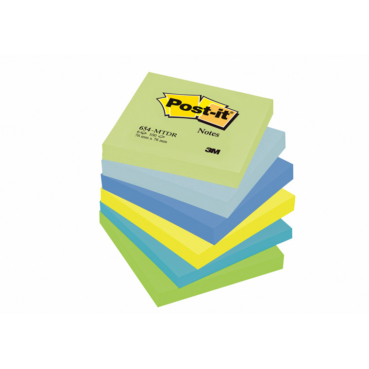 Post-it notes mint 76x76mm 5 ass. farver 6blk/pak 654MT