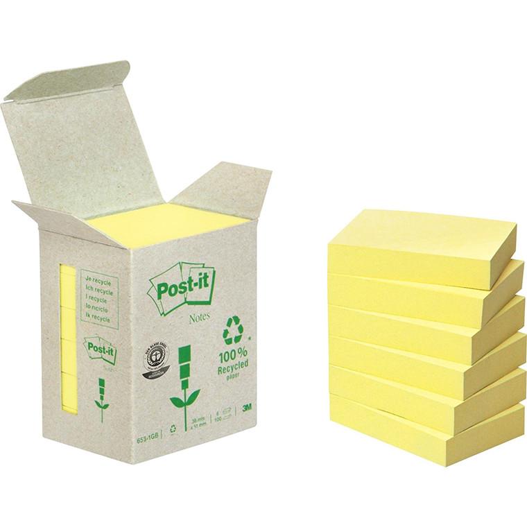 Post-it Notes Pastel Yellow - 38 x 51 mm genbrugspapir