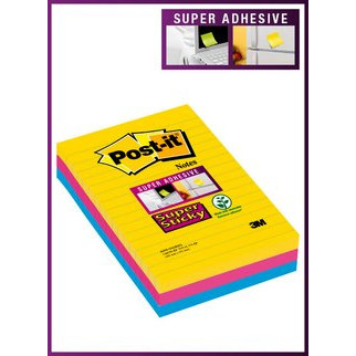 Post-it notes Super Sticky ass. lin. 100x152mm 3blk/pak